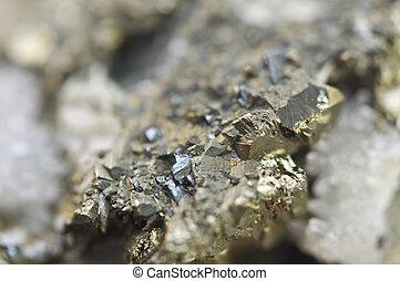 hierro, pirita, es, un, hierro, sulfide, con, el,...
