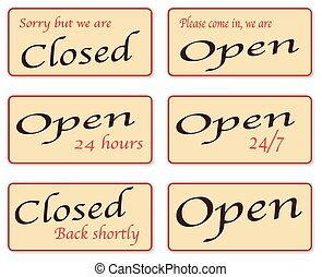 Sorry We Are Closed - A set of open and closed signs