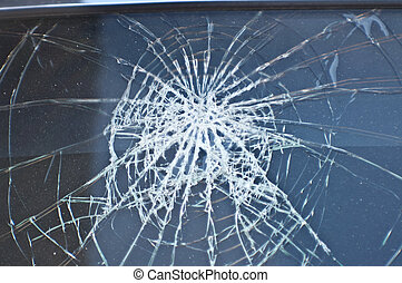 Front window the car crashed. Broken Glass. Automobile...