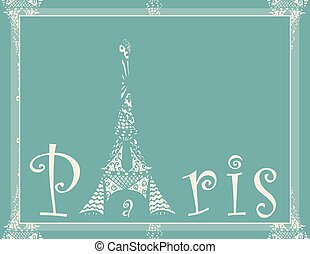 card with eiffel tower - Invitational card with eiffel tower...