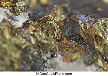 Chalcopyrite Copper iron sulfide mineral Macro. -...