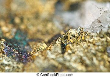 Chalcopyrite, cobre, hierro, sulfide, mineral, Macro.,
