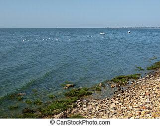 Taganrog bay in Azov sea near the Taganrog city, Russia...