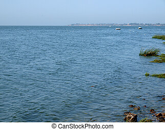 Taganrog bay in Azov sea near the Taganrog city, Russia...