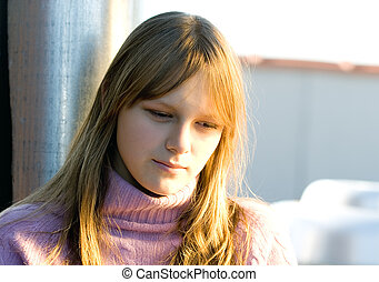 Young teenager girl with strong sad depressed expression -...