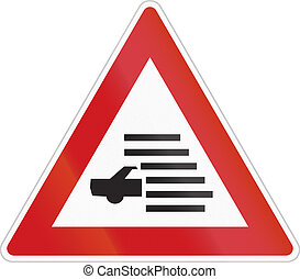 Fog Warning road sign of the Czech Republic