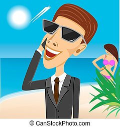 businessman with sunglasses looking at the sky on the beach...