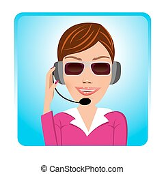 customer support operator with glasses