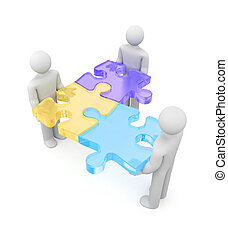 3d people with puzzles - Partnership concept. Isolated on...