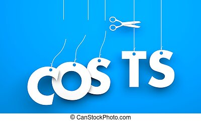 Scissors cuts word COSTS Conceptual business image