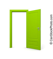 Open door - Conceptual image. Isolated on white