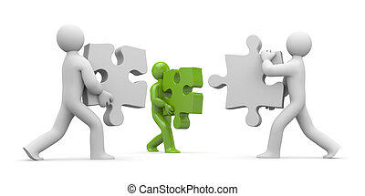 Persons with puzzles - Partnership concept Isolated on white...