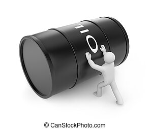 Person push oil barrel - Image contain the clipping path
