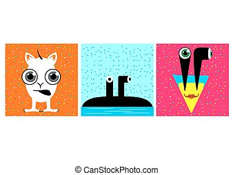 cartoon funny monsters with big eyes - illustration of...