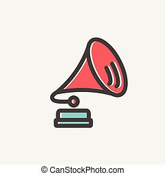 Gramophone thin line icon - Gramophone icon thin line for...