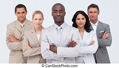 Confident Afro-American businessman leading his team with...