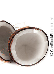 Coconut broken in half