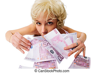 Girl with lots of money isolated on white