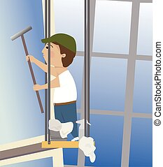 Window Washer - A window washer washing windows on a...
