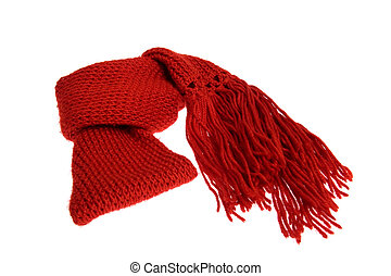 Woolen scarf - A red woolen scarf isolated over white...