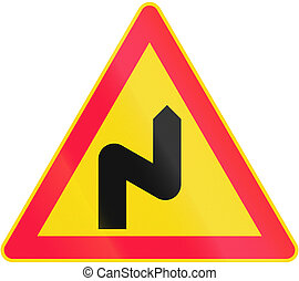 Double Curve First To Right in Finland - Road sign 113 in...
