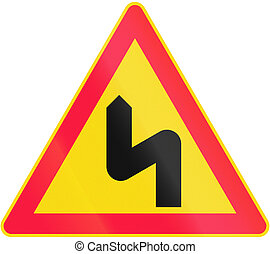 Double Curve First To Left in Finland - Road sign 114 in...
