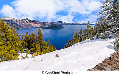 Beautiful Panorama of Crater Lake - Crater Lake on a Bright,...
