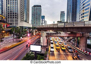 modern city traffic trails