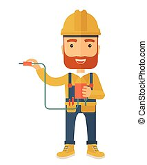 Electrician holding power cable plug