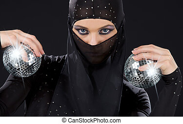 ninja - party dancer in ninja dress with disco balls