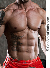 Strong Bodybuilder With Six Pack - Close Up Of A Perfect Abs