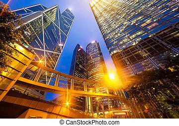 urbano, ciudad, luz, cierre, vista, de, empresa / negocio,...
