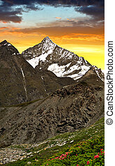Weisshorn in the sunset