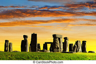 Historical monument Stonehenge in the sunset, England, UK