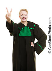 Woman lawyer making victory hand sign - Law court or justice...