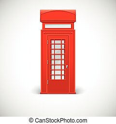 Telephone box, Londone style. Vector illustration isolated...