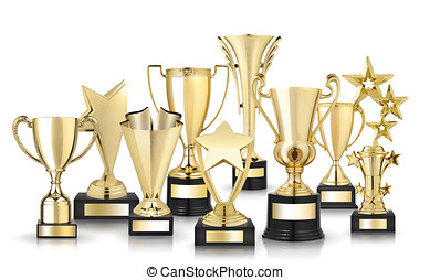 golden trophies - Set of golden trophies Isolated on white...