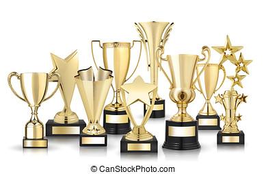 dourado, troféus,