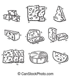 Hand drawn doodle sketch cheese with different types of...