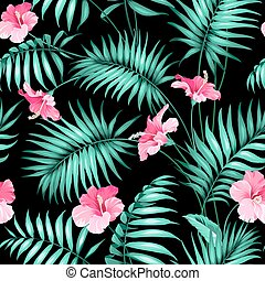 Tropical flowers and jungle. Seamless texture. Vector...