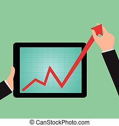 Businessman holding graph to growing up from tablet screen...