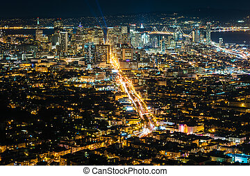 View of San Francisco at night, from Twin Peaks, in San Francisco, California.