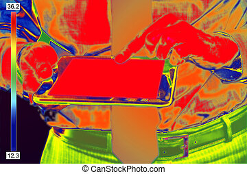 Infrared image of Businessman - Thermovision Infrared image...
