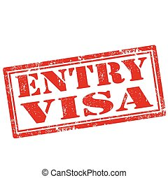 Entry Visa - Grunge rubber stamp with text Entry Visa,vector...