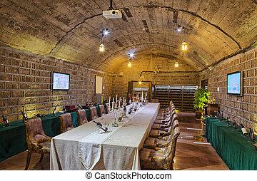 wine tasting room in basemen