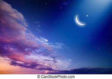 Ramadan Kareem background with moon and stars, holy month...
