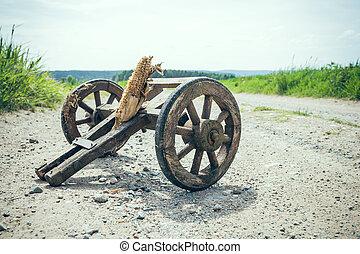 Handcart on a dirt road