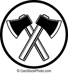 Two sharp axes crossed. Woodcutter tool, simple hatchet...
