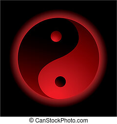 ying yang burn - bright red ying yang logo with outer glow
