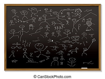 stick man blackboard - school black board with childish...
